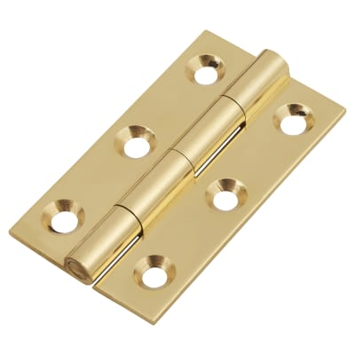 Solid Drawn Hinge - 50 x 28 x 1.45mm - Polished Brass - Pair