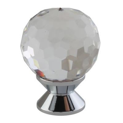 Round Clear Cut Glass Cabinet Knob - 24mm - Polished Chrome