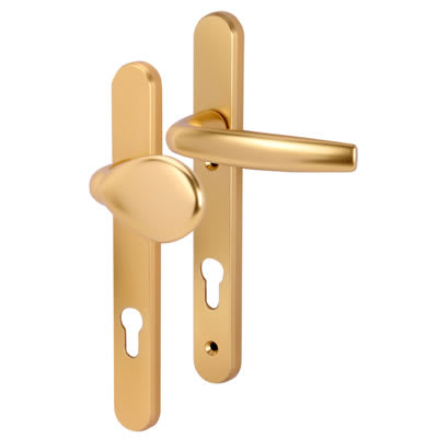 Hoppe Atlanta Multipoint Handle - uPVC/Timber - 92mm C/C - 70mm door thickness - Lever/Pad - Gold