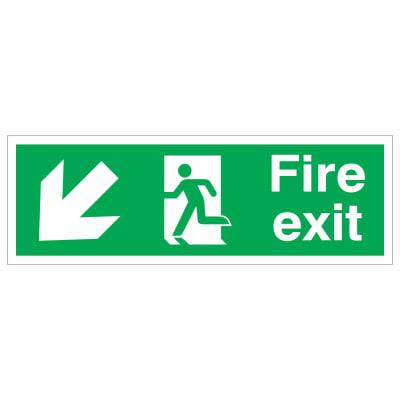 Fire Exit Down Left- 150 x 450mm - Rigid Plastic