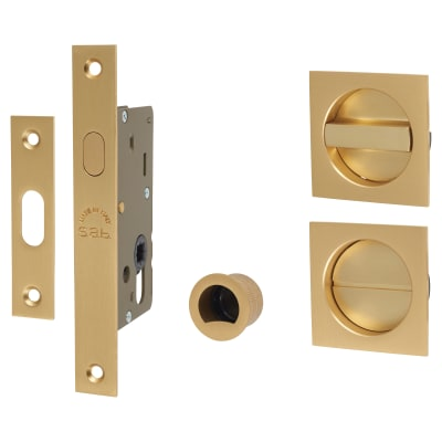 M Marcus Square Flush Privacy Handle Set with Lock - Satin Brass