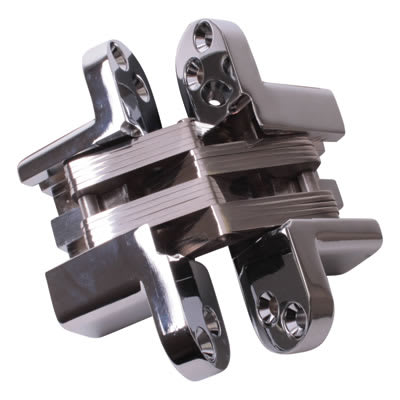 Tago Concealed  Hinge - 140 x 35mm - Polished Chrome - Pair