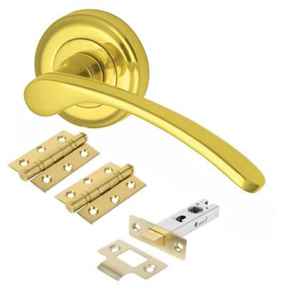 M Marcus Sophia Lever Door Handle on Rose - Door Kit - Polished Brass