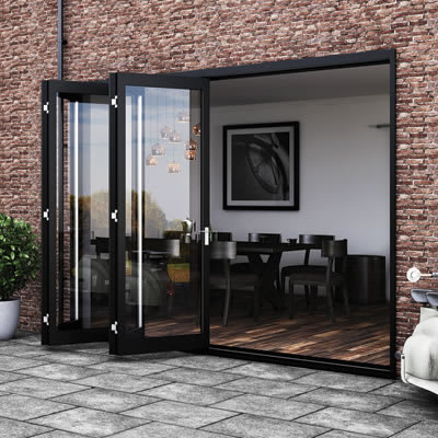Barrierfold Outward Opening Patio Door Kit - 4 Door - Satin Stainless Steel