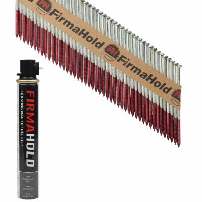 TIMco 34° FirmaHold Clipped Head Nail and Gas - First Fix - 3.1 x 75mm - FirmaGalv - 1 Fuel Cell