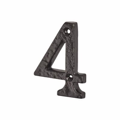Colonial 76mm Numeral - 4 - Metalized Antique Black Iron