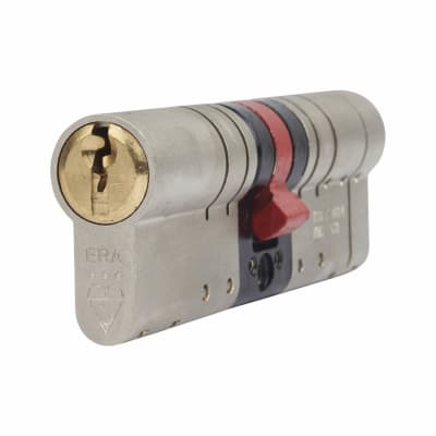 ERA 3 Star Fortress Cylinder - Euro Double - Length 80mm - 40 + 40mm - Nickel/Brass
