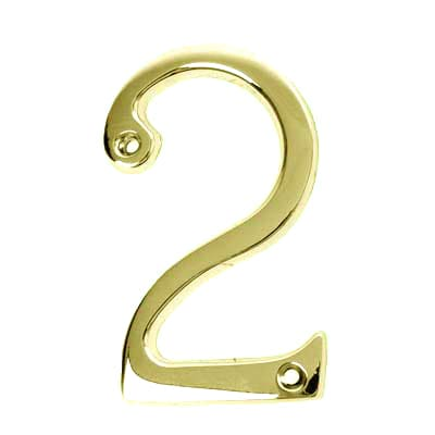 76mm Numeral - 2 - Stainless Brass PVD