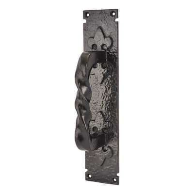 Elden Barley Twist Pull Handle on Finger Plate - 310 x 65mm - Antique Black