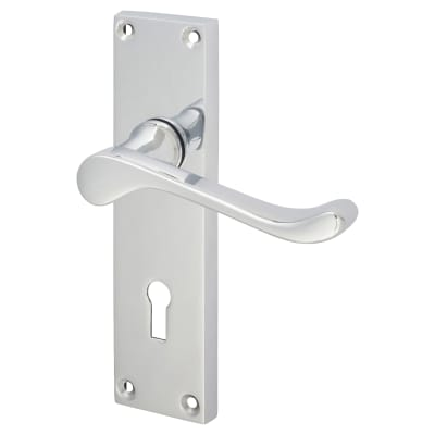 Aglio Victorian Scroll Door Handle - Keyhole Lock Set - Polished Chrome