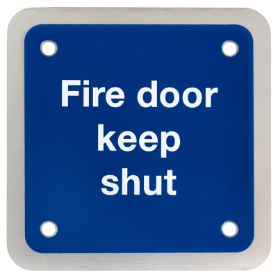 Fire Door Keep Shut Square - 90x90mm - Satin Stainless Steel