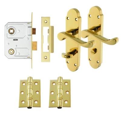 Aglio Victorian Summer Door Handle Kit - Bathroom Set - Polished Brass