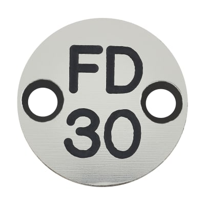 FD30 Door Sign Drilled - 25mm - Silver