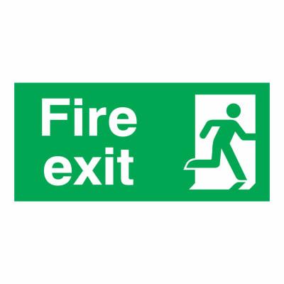 Fire Exit Man Right - 150 x 300mm - Rigid Plastic