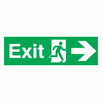 Exit Right - 150 x 450mm - Rigid Plastic