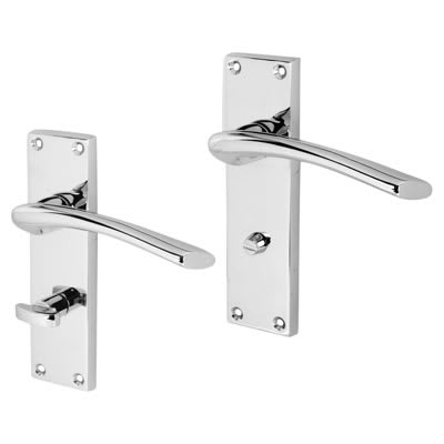 Touchpoint Rimini Door Handle - Bathroom Set - Polished Chrome