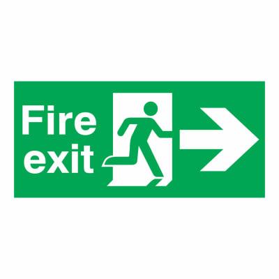 Fire Exit Right - 150 x 450mm - Rigid Plastic
