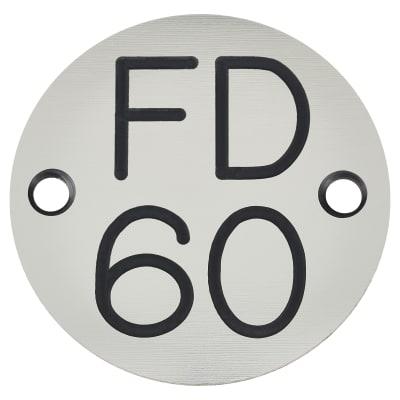 FD60 Door Sign Drilled - 50mm - Silver