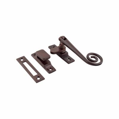 Hampstead Open Curl Hook & Plate Window Fastener - Soft Antique Bronze