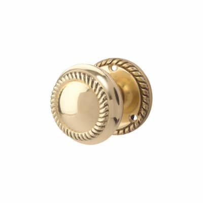 Georgian Rope Edge Mortice Door Knob - Budget - Polished Brass
