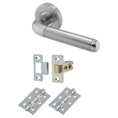 Altro Duo 3 Style Lever Door Handle on Rose - Door Kit - Polished/Satin Stainless Steel