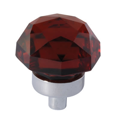 Floral Coloured Glass Cabinet Knob - 25mm - Polished Chrome/Tawney