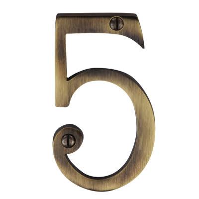 M Marcus 76mm Numeral - 5 - Antique Brass