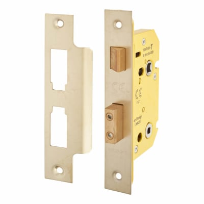 Altro Bathroom Lock - 63mm Case - 44mm Backset - PVD Brass