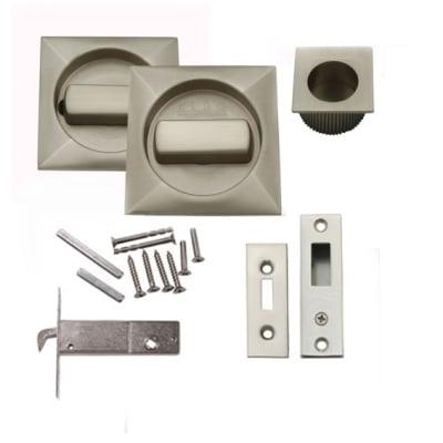 KLÜG Square Flush Handle Set with Latch - Satin Nickel