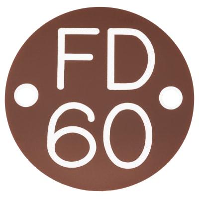 FD60 Door Sign Drilled - 50mm - Brown