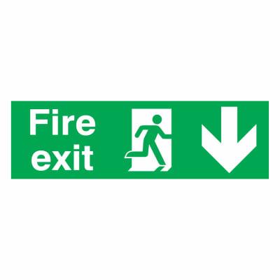 Fire Exit Down - 150 x 450mm - Rigid Plastic