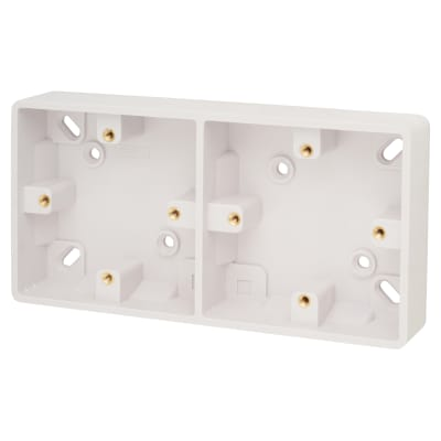 Click Scolmore Dual Accessory 29mm Pattress Box with Earth Terminal - White