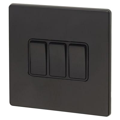 Hamilton Hartland CFX 10AX 3 Gang 2 Way Switch - Jet Black with Black Inserts