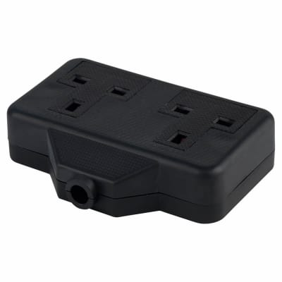 13A 2 Gang Trailing Socket - Black