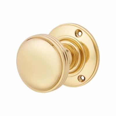 Aglio Oxford Mortice Door Knob - 69mm - Polished Brass