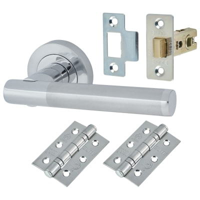 Touchpoint Bella Lever Door Handle on Rose - Door Kit - Polished/Satin Chrome