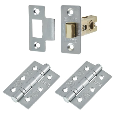 Altro Premium Latch Pack - 2 Hinges - Satin Chrome