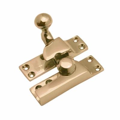 Heavy Duty London Pattern Sash Fastener - 74mm - Polished Brass