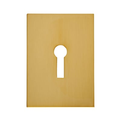 Jumbo Adhesive Fixing Escutcheon - 65.5 x 47.6mm - Keyhole - Polished Brass
