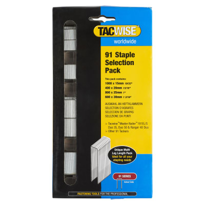 Tacwise 91 Series Staples - Selection Pack (15, 20, 25, 30mm) - Galvanised - Pack 2800