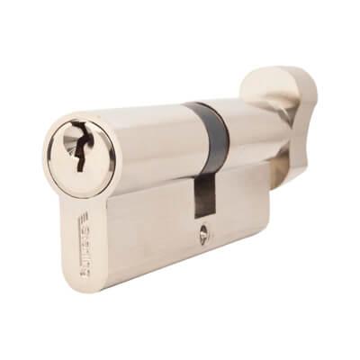 5 Pin Cylinder - Euro Thumbturn - Length 75mm - 35[k]* + 40mm - Nickel