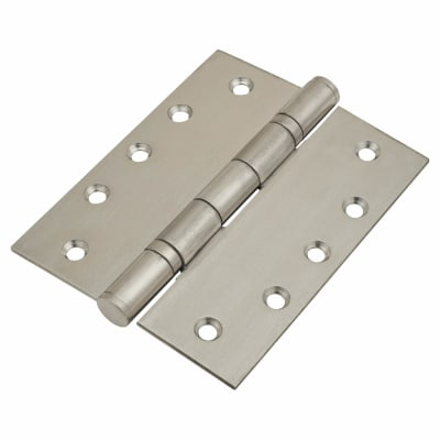 Heavy Duty Ball Bearing Hinge - 127 x 102 x 3mm - Satin Stainless Steel - Pair