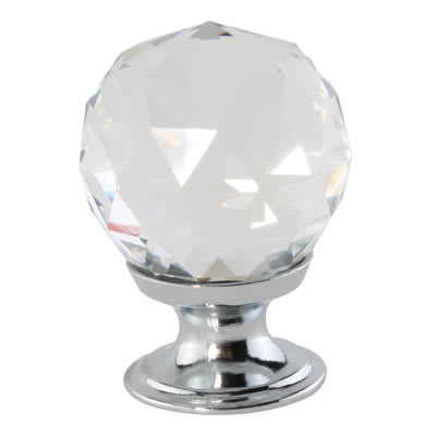 Cut Glass Cabinet Knob - 30mm - Polished Chrome