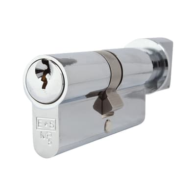 Eurospec Euro Cylinder and Turn - 5 Pin - 35[k] + 35mm - Polished Chrome - Master Keyed