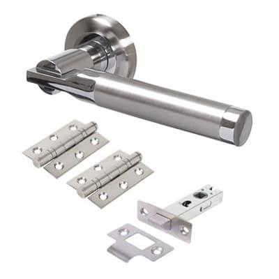 Morello Gloucester Lever Door Handles on Rose - Door Kit - Satin Chrome/Polished Chrome
