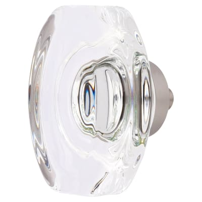 Aglio Oblong Glass Cabinet Knob - 45mm - Satin Nickel
