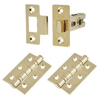 Altro Premium Latch Pack - 2 Hinges - Electro Brass