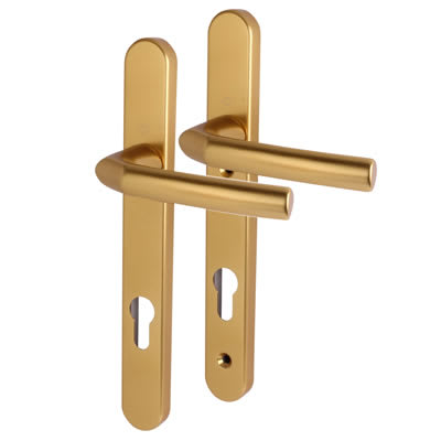 Hoppe Birmingham - uPVC/Timber - Multipoint Short Plate Handle -92mm C/C -44mm door thickness -Gold