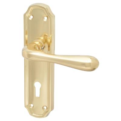 Elan Genoa Door Handle - Lock Set - Polished Brass