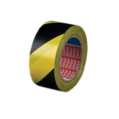Tesa 60760 PVC Hazard Warning Floor and Lane Marking Tape - 50mm x 33m - Black / Yellow